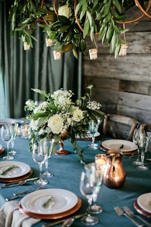 Copper and Aqua Tabletop | photography by http://www.kristynhogan.com