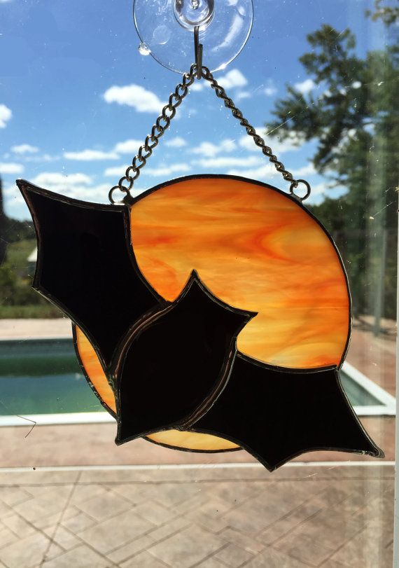 Handmade Stained Glass Full Moon with Owl or Bat by QTSG on Etsy
