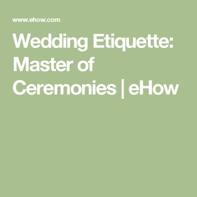 Wedding Etiquette: Master of Ceremonies | eHow