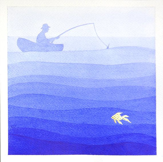 Fisherman boat nautical illustration blue sea original by VApinx, $57.00