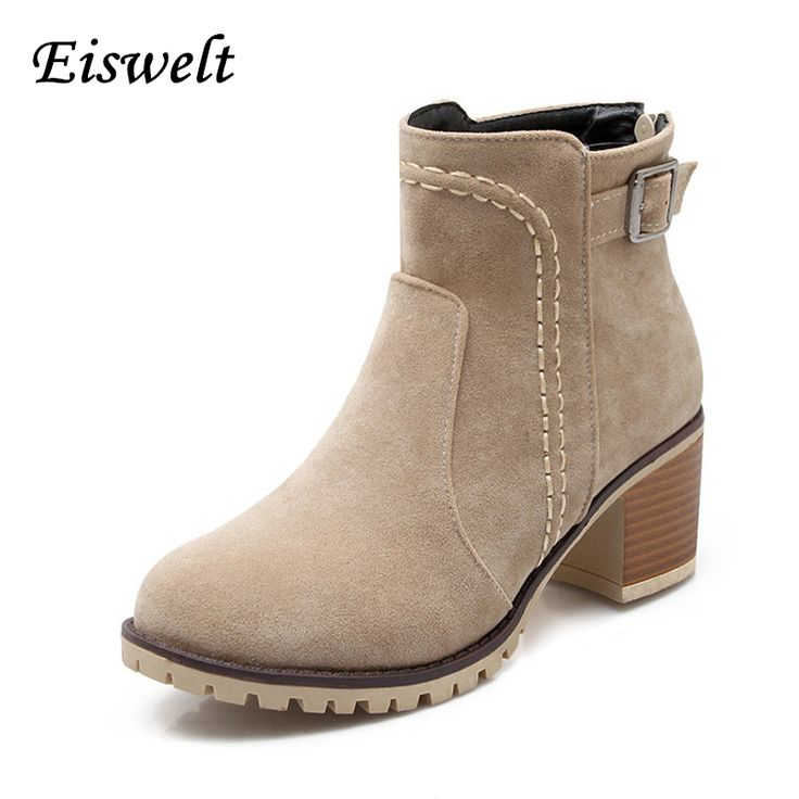 Autumn And Winter Fashion Women Boots Buckle Round Toe Flock Women Motorcycle Boots Women Shoes Thick Heel#HL96