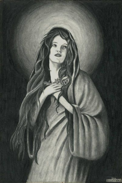 Original drawing  'Maria I'  Pencil on paper, 2000  19,9 x 29,6 cm  1cm (Zentimeter) = 0,394 inch