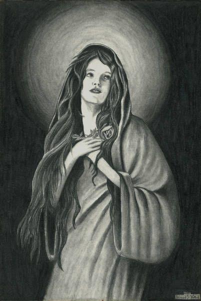 Original drawing  'Maria I'  Pencil on paper, 2000  19,9 x 29,6 cm  1cm (Zentimeter) = 0,394 inch