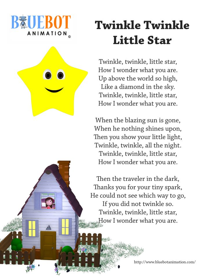 Le Little Star Nursery Rhyme Lyrics Free Printable Page