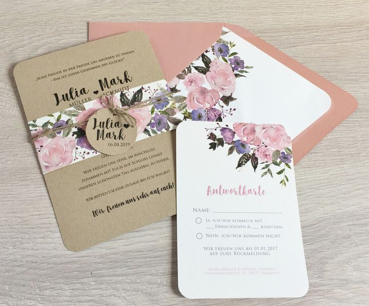 Einladung Hochzeit Hochzeitseinladung Kraftpaier Blumen Einleger Umschlag Altrosa Serie 3 In 2020 Einladungen Karte Hochzeit Hochzeitseinladungen Diy