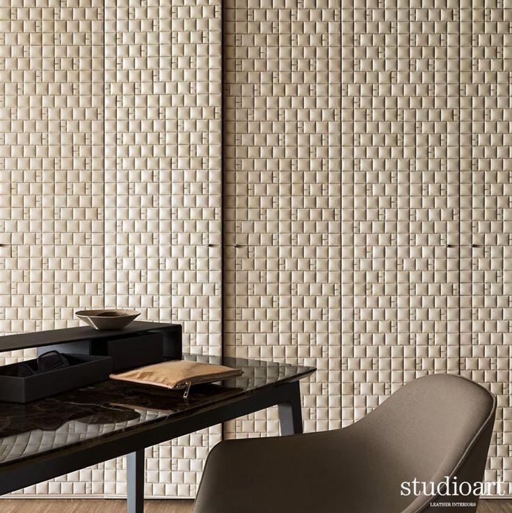 Waternatural ivory pattern 4 padded  #studioartleather #leather #leatherwall #design #homedecor #home #wardrobe #rooms