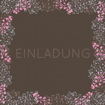 Stilvolle Einladung In Braun Mit Zartem Rahmen Aus Blüten. Anlässe  Geburtstag