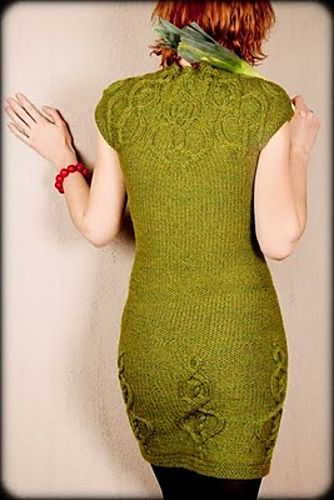 Beautiful green knitted dress cables