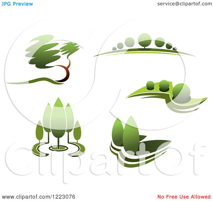 Clipart of Landscapes with Green Trees 2 - Royalty Free Vector ...