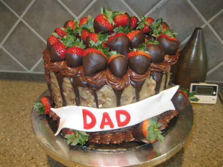 German Chocolate Cake With Chocolate Dipped Strawberries