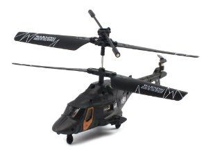 "Skytech M9 Electric RC Helicopter GYRO 3.5CH Infrared Marine RTF by Velocity Toys. $34.95. Features:  Electric Powered (Rechargeable)  Charges Via a Built In Charging Cable in the Remote!. Remote Control requires 6 AA Batteries to run (not included). Full Function! (Rise and Descend, Turn Left and Right, Forward)  Optimized for Indoor Flight  3.5CH Infrared Radio System. Length: 6.5""  Wingspan: 6""  Height: 3"". Gyroscope Equipped for Smooth Flying  Coaxial Roto..."