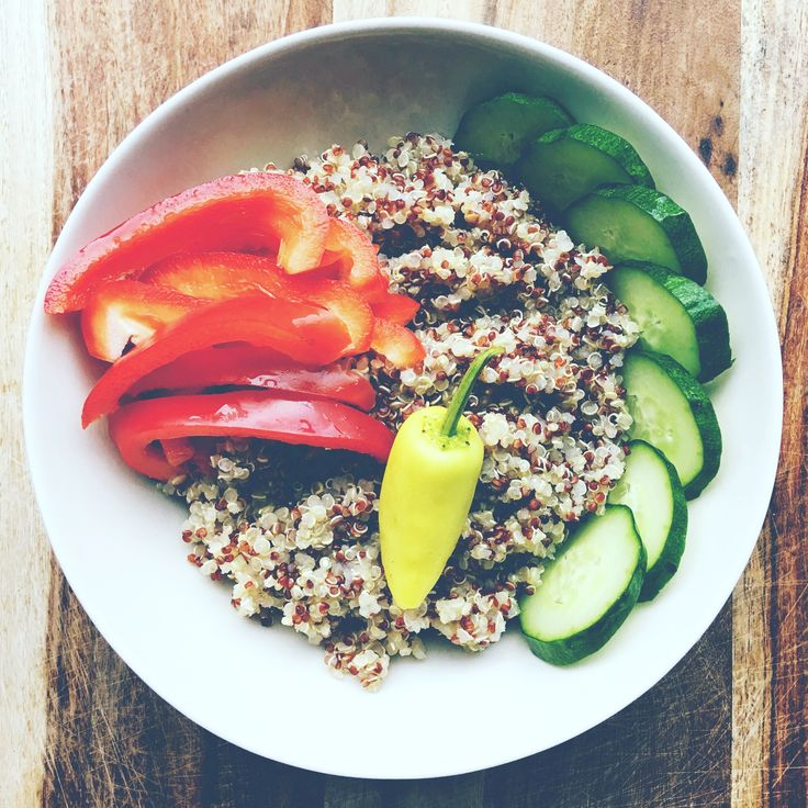 """I bought some quinoa and made a warm bowl with veggies. Added some maple syrup to my dressing. It was delicious! And do not underestimate this tiny yellow pepper. Its an Hungarian wax pepper (hot!!). This pepper is know to help with """"Premature Skin Damage, Improves brain function, Cholesterol, Supports Heart Health, Osteoporosis, Immunity, Protection against Lung Cancer, Reduce Symptoms of Rheumatoid Arthritis, Curing Cataracts (Eye Disorder)"""