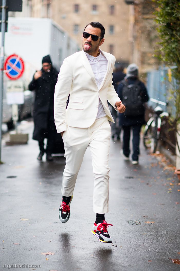 Luca Finotti at Moschino. I am pinning this for my boyfriend, whom I spent the morning dorking out with over a white shirt fitting and who is dying for a white suit. @Men's Style Pro