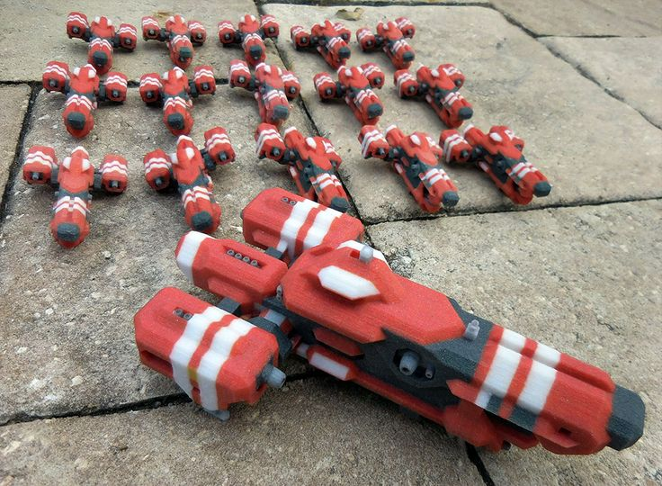 Squadron of the Red Ships from Space Engineers game, ready for the battle. 3D printed at Space Engineers Prints, $24.95 for 3 inch miniature and $139 for 6 inch 1:1 replica. Order at: http://www.spaceengineersprints.com/collections/frontpage