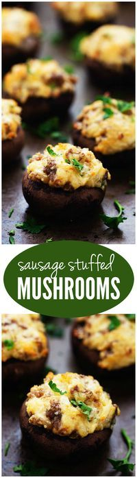 These Sausage Stuffed Mushrooms are the BEST appetizers!! therecipecritic.com