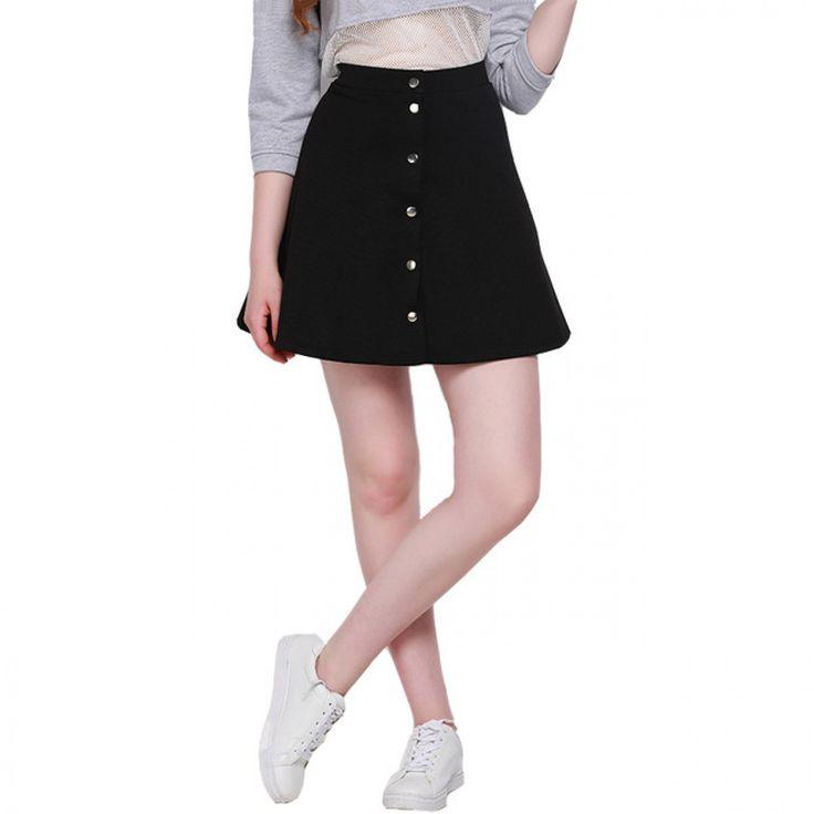 Fashion Single Button Mini Skirts High Waist Slim Female A-line Skirts Street Style Solid Casual Ladies Skirts