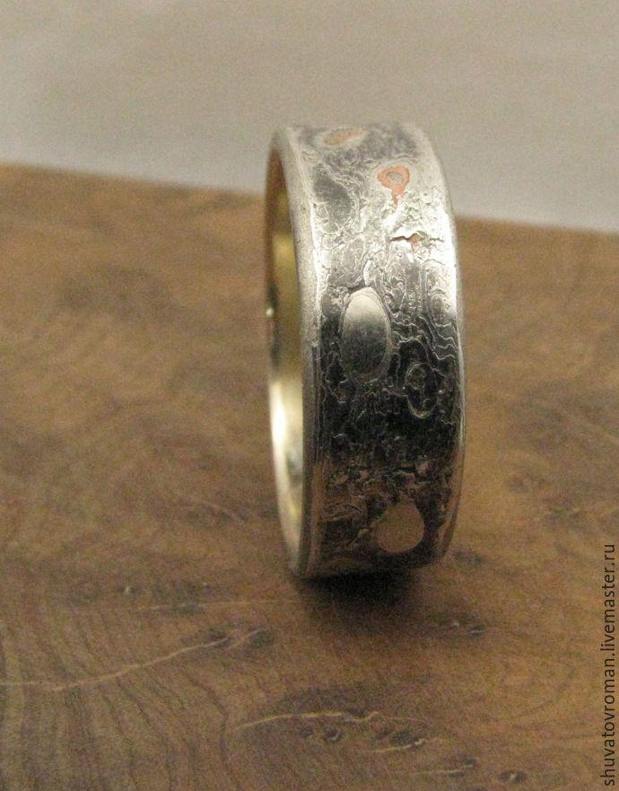 """Купить Кольцо """"Эрозия"""" - серебряный, мокуме гане, медитация, мужское кольцо, единственный экземпляр, большой размер"""