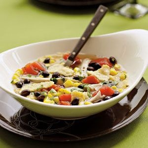 Add black beans, corn, diced tomatoes, tortilla chips and the go-to Mexican flavors of cumin, oregano, cilantro and green chilies for an extra kick to this classic recipe.