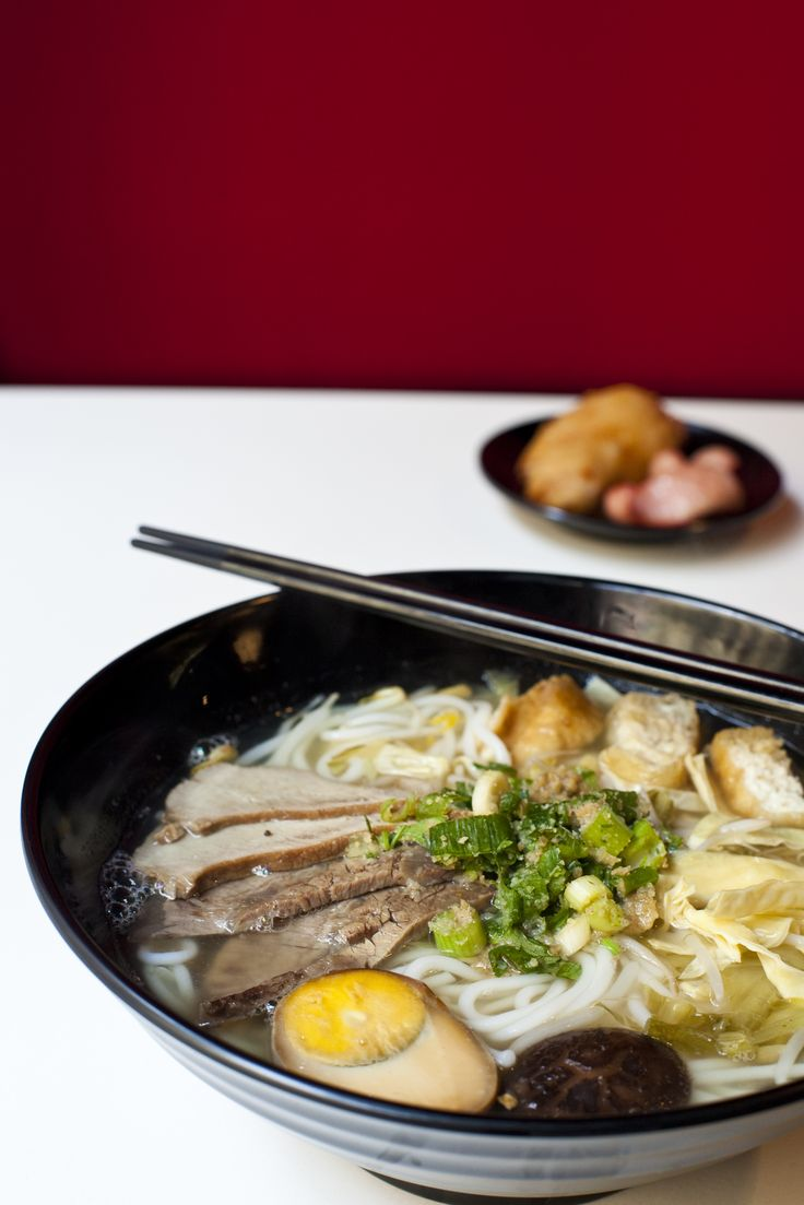 The Kunming bowl, flagged as something of a house specialty, has the noodles arranged over pork mince, cubes of spongy fried tofu, bean sprouts and preserved greens.