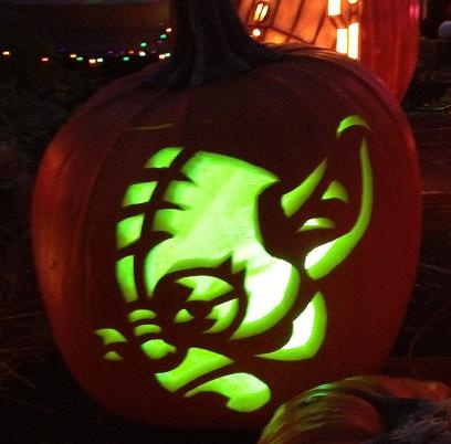 Yoda Cut out pattern from Zombie Pumpkins, carved on a real pumpkin by Wyntersolstice