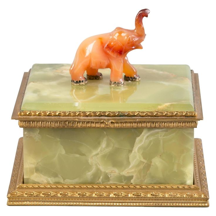Bronze Mounted Onyx Box with Agate Elephant, circa 1900 | From a unique collection of antique and modern boxes at https://www.1stdibs.com/furniture/decorative-objects/boxes/