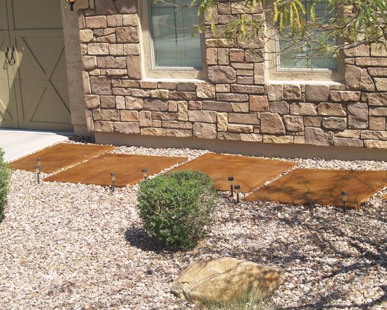 Concrete Walkway Ideas » Mediterranean Stained Concrete Pavers With