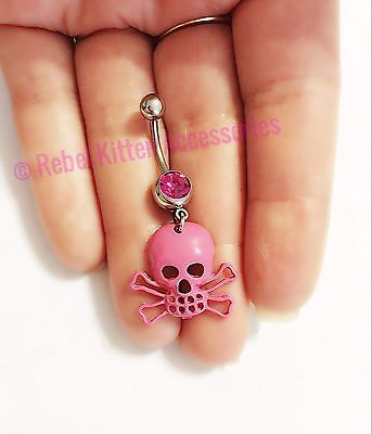 14g Pink Skull Retro Boho Navel Belly Button Ring Piercing Body Jewelry Barbell
