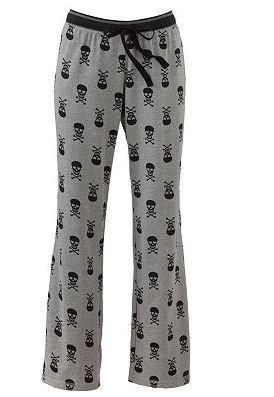 Unique Punk Goth Gray Black Skull Hearts PJ Pajama Pants Bottoms Cotton  Kohls L