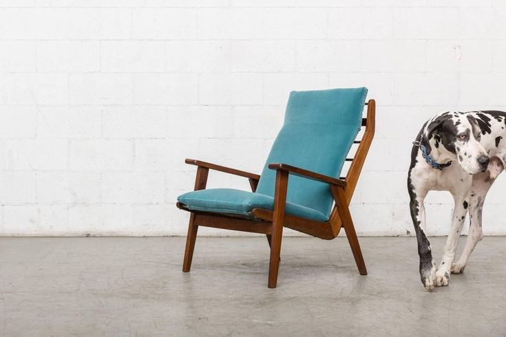 Robert Parry Teak and Velvet Lounge Chair For Sale at 1stdibs