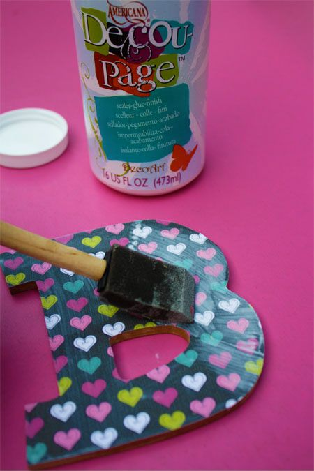 Decoupage letters & attach magnets