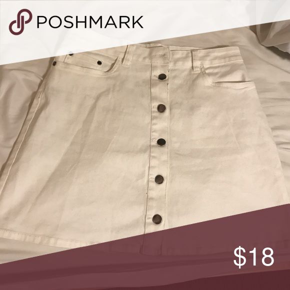 White Denim Mini Skirt New and never been used! It's stretchy but still gives a good fit. I got this from Nordstrom Rack. It has two pockets in the back and belt holes around the waist band. Skirts Mini