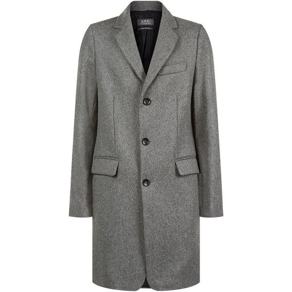 A.P.C. Chester Wool Coat (€505) ❤ liked on Polyvore featuring men's fashion, men's clothing, men's outerwear, men's coats, mens wool outerwear, mens gray wool coat, mens wool coats, mens grey coat and mens gray pea coat
