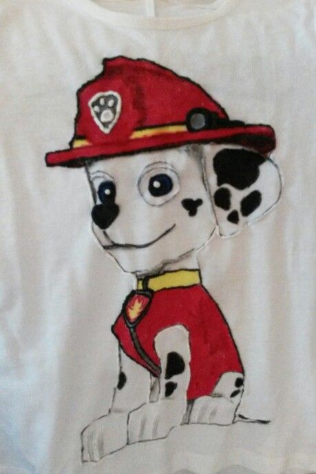 Hand painted, t shirt, Dalmatian dog, paw patrol, Marshall