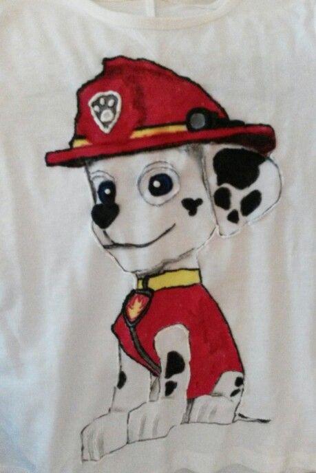Hand painted, t shirt, Dalmatian dog, paw patrol, Marshall