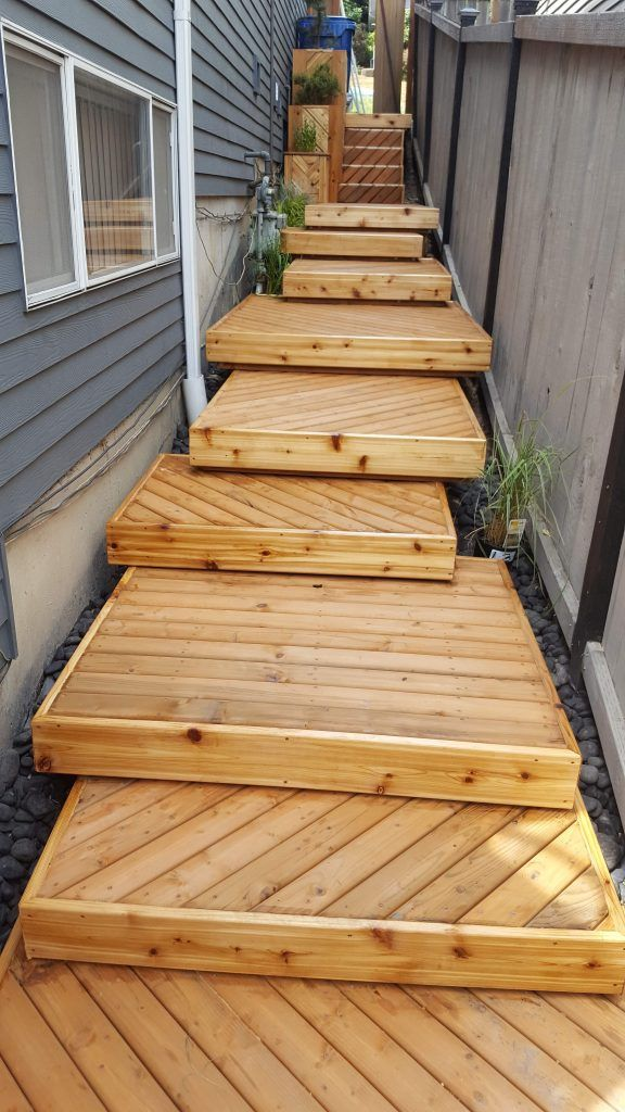 Wooden Deck Steps Building Wood Stairs Designs Build Pictures   Building Outdoor Steps With Wood   Pea Gravel   Stair Railing   Porch Steps   Composite Decking   Hillside