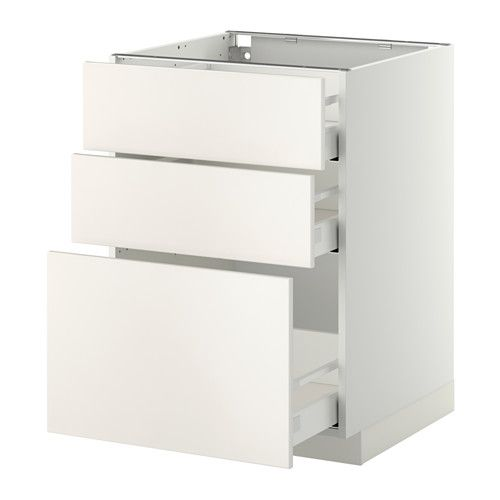 METOD/MAXIMERA Élt bas 3 faces/3 tiroirs moyens - blanc, Ringhult brillant blanc, 60x60 cm - IKEA