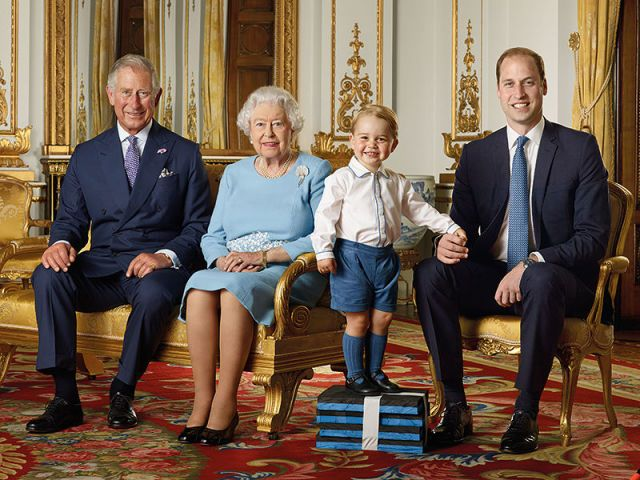 Prince George Poses with Queen Elizabeth, Prince Charles & Prince William for a Special Portrait - HarpersBAZAAR.com