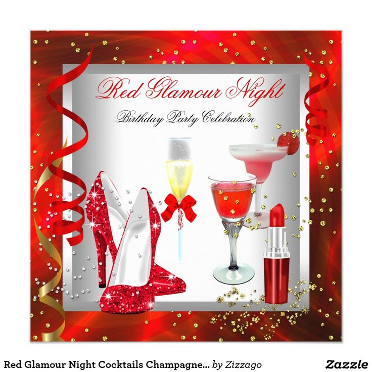 Red Glamour Night Cocktails Champagne Party Invitation