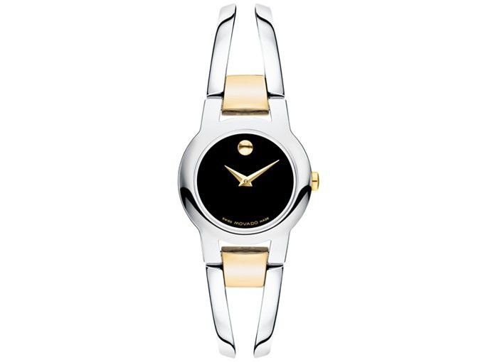 Movado Women's Amorosa Gold-Plated Watch with Black Museum Dial 0606538