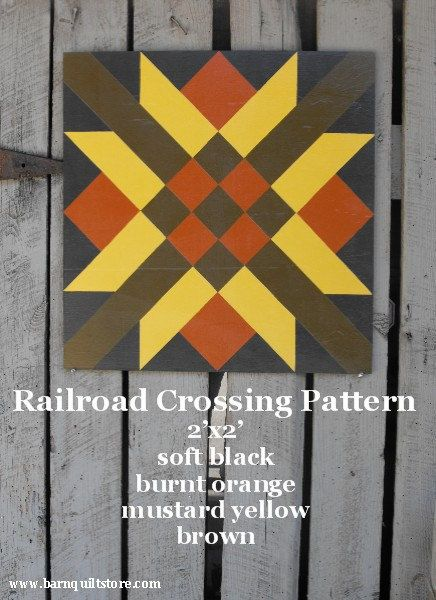 Painted Wood Barn Quilt Railroad Crossing by TheBarnQuiltStore, $70.00