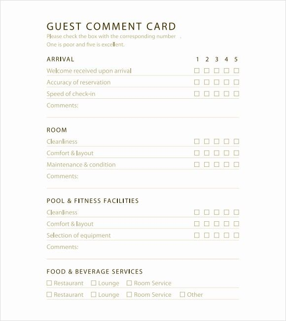 Restaurant Comment Card Template Free Inspirational 5 Restaurant Ment Card Templates Excel Xlts Card Templates Free Card Template Free Printable Card Templates