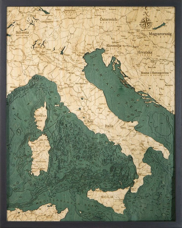 Italy 3 D Nautical Wood Chart 245 x