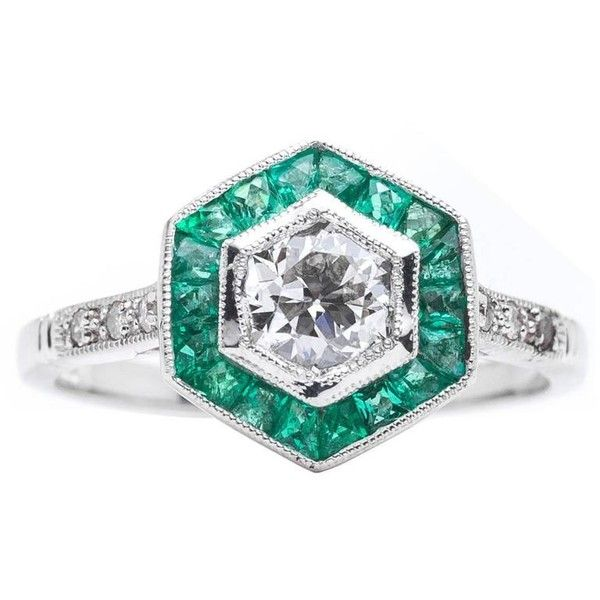 Preowned Diamond Emerald Target Ring In Platinum (25 790 SEK) ❤ liked on Polyvore featuring jewelry, rings, engagement rings, green, emerald diamond ring, art deco rings, round engagement rings and pre owned engagement rings