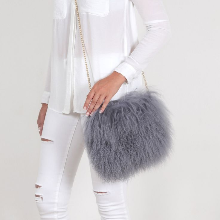 EYES ON MISHA Mongolian lamb fur bag Boho medium grey