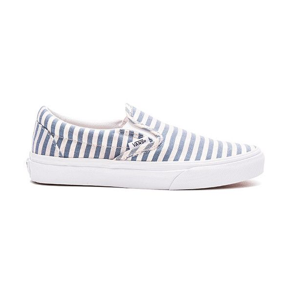 Vans Stripes Classic Slip-On (935 MXN) ❤ liked on Polyvore featuring shoes, sneakers, slip on trainers, striped shoes, vans footwear, vans sneakers and vans trainers