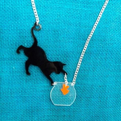 Cat Catching a Fish Necklace
