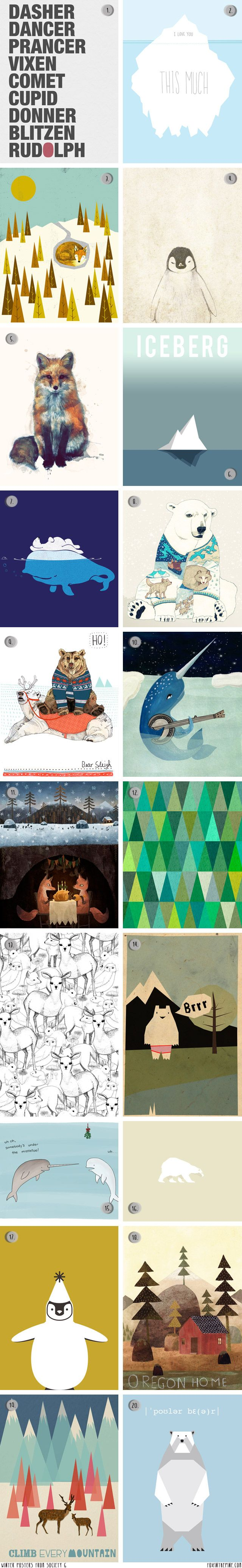 Winter posters from Society 6   //   FOXINTHEPINE.COM