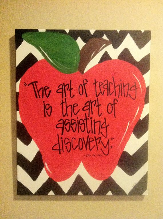 Chevron Apple Canvas by TheWhimsicalWrenTN on Etsy, $18.00