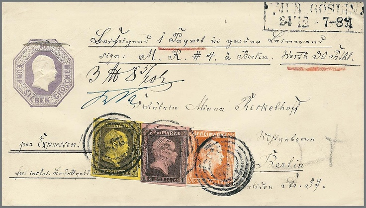 """1 / 2 Sgr. brick red, 1 Sgr. black / rose and 3 Sgr. black / yellow on octagon postal stationery 5 Sgr. purple, with number cancellation """"986"""" and box cancel of 2 lines """"mud Goslin"""" as special delivery accompanying letter for parcels to Berlin (known Reckelhoff correspondence) . The 1 Sgr. is a little touched, otherwise perfect and originally condition, decorative and scarce four-color franking, in this composition (package, special delivery plus prepaid carrier´s charge) with E. Unique…"""