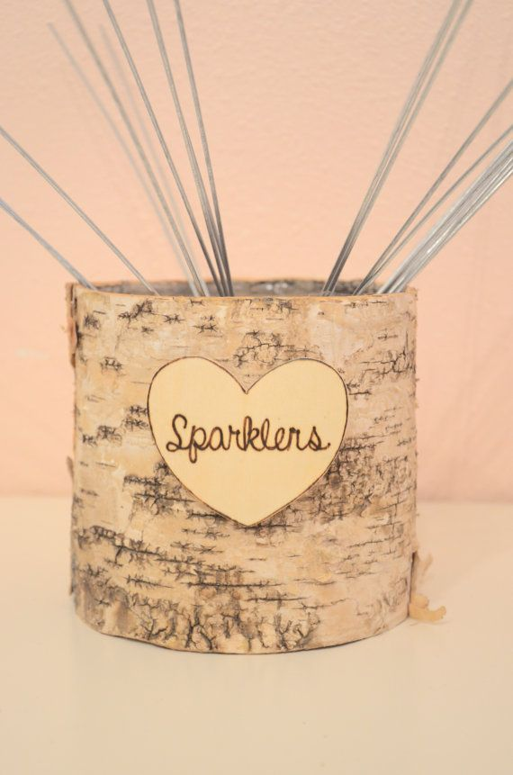 DIY ** For sale is a  sparklers birch basket perfect for a beach, rustic chic, outdoor wedding or special occasion. Birch basket comes with a lovely hand engraved wood heart with the word sparklers. If you would like another word written on the heart please let me know. (Only one short word please).